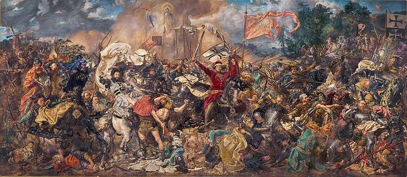 Représentation la plus connue de la Bataille de Gunwald-Tannenberg Huile sur Toile de Jan Matejko, 1878, Musée National de Varsovie